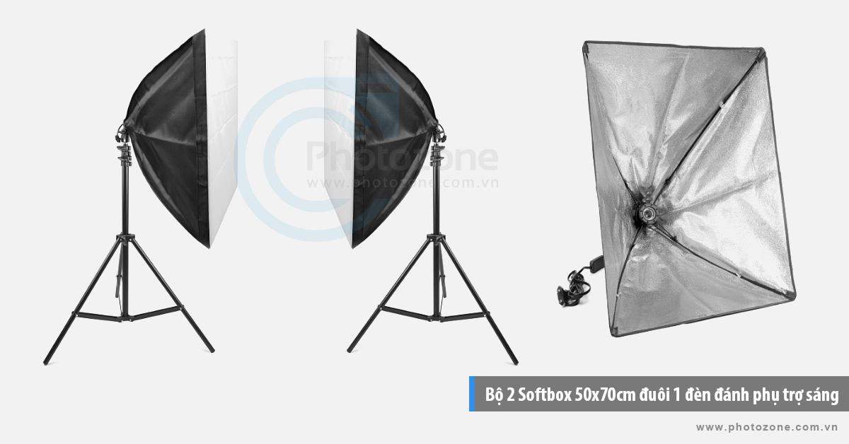 Bộ 2 Softbox 50x70cm trợ sáng LED 80W