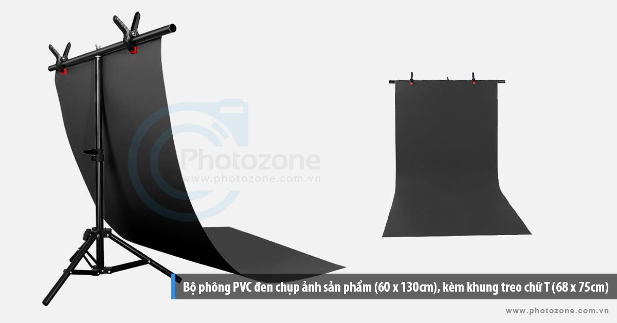 Bộ phông PVC đen chụp ảnh sản phẩm (60 x 130cm), kèm khung treo chữ T (68 x 75cm)