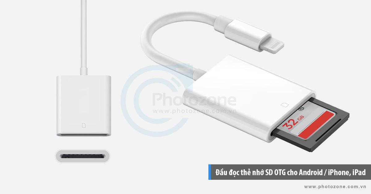 Đầu đọc thẻ nhớ SD OTG cho Android / iPhone, iPad