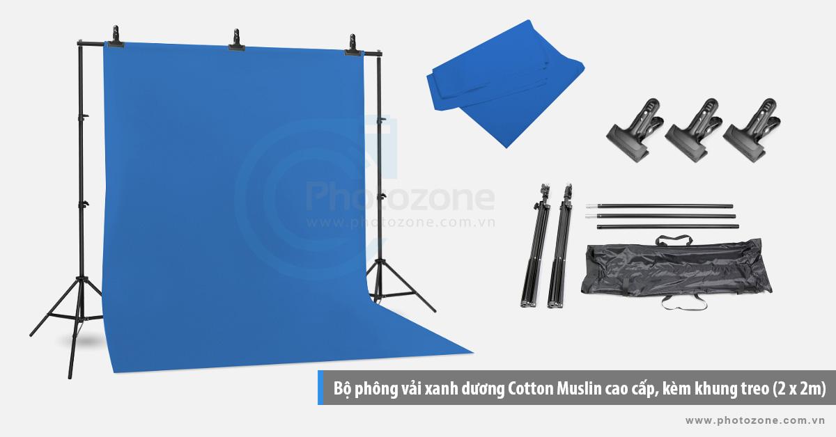 Bộ phông vải quay phim xanh dương (1.8 x 2.9m) Cotton Muslin cao cấp, kèm khung treo (2 x 2m)