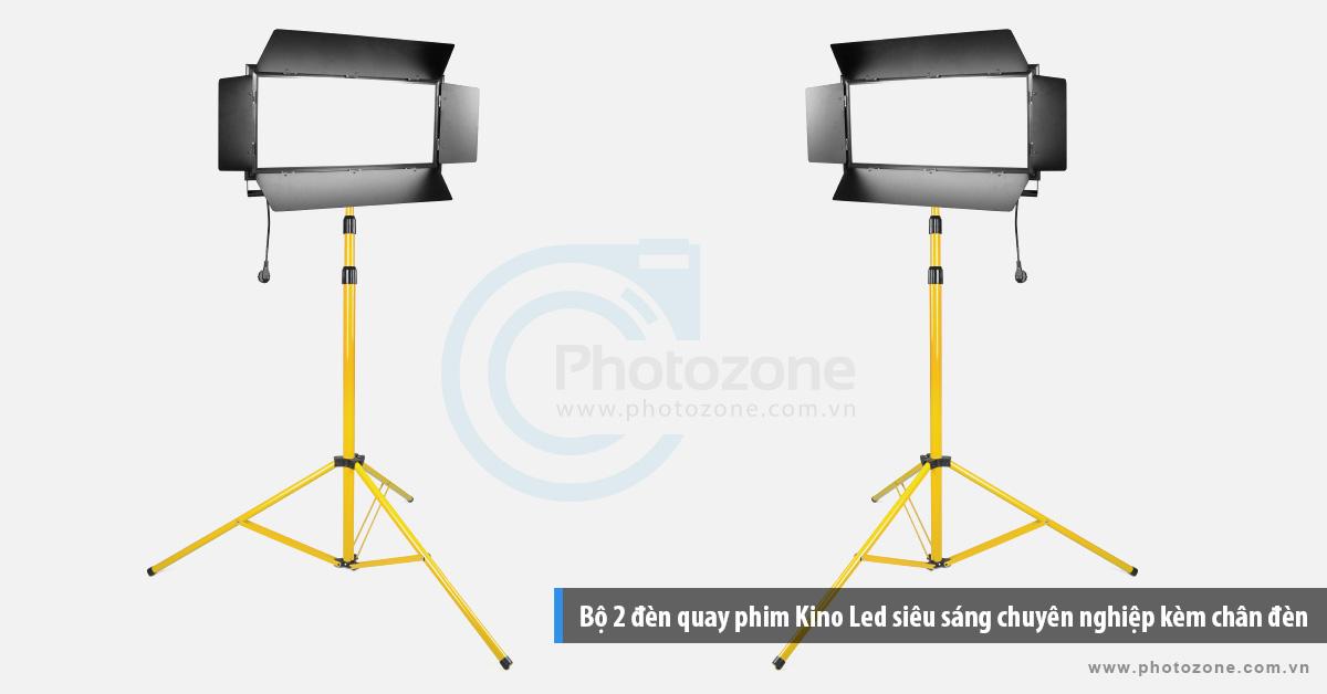 Bộ 2 đèn quay phim Kino Led ánh sáng trắng (6500K) chuyên nghiệp kèm chân đèn 3m