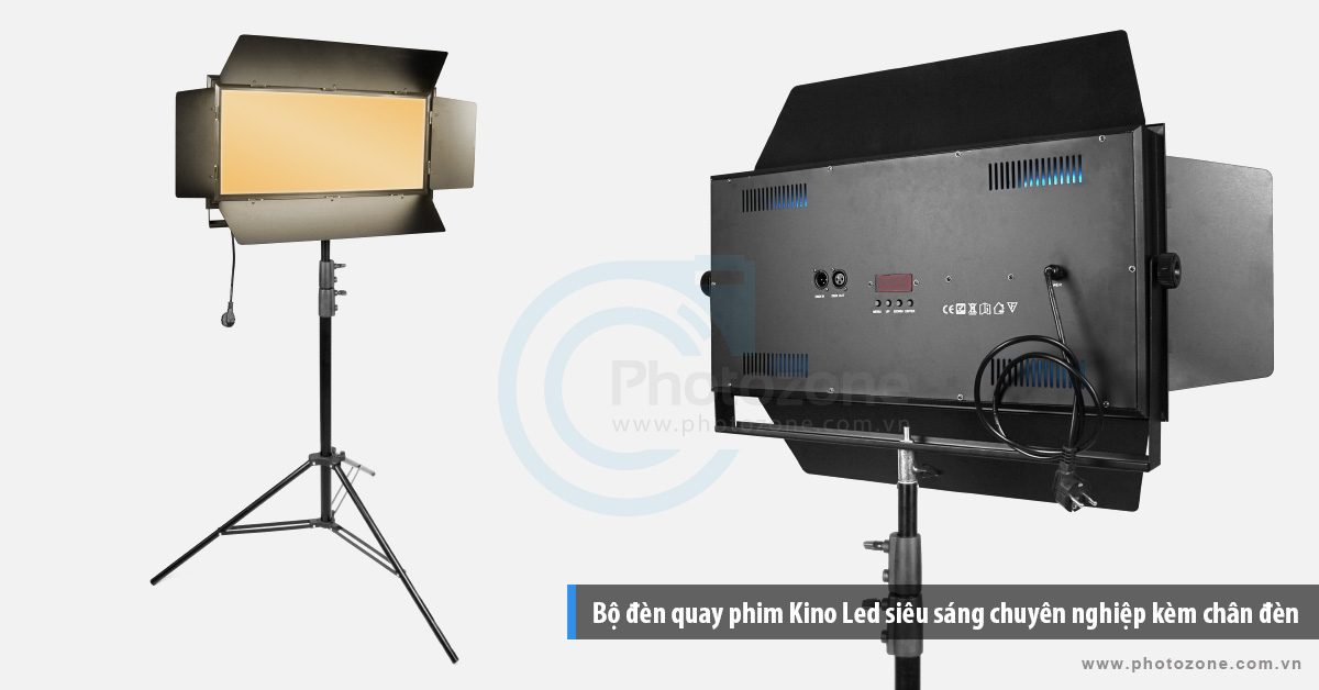 Bộ đèn quay phim Kino Led ánh sáng vàng (3200K) chuyên nghiệp kèm chân đèn