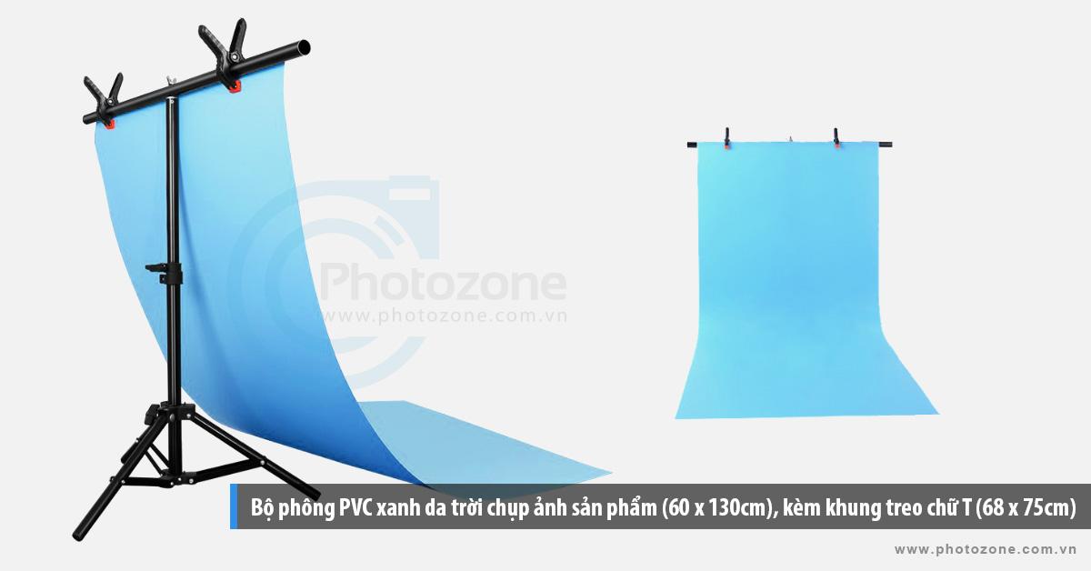 Bộ phông PVC xanh da trời chụp ảnh sản phẩm (60 x 130cm), kèm khung treo chữ T (68 x 75cm)