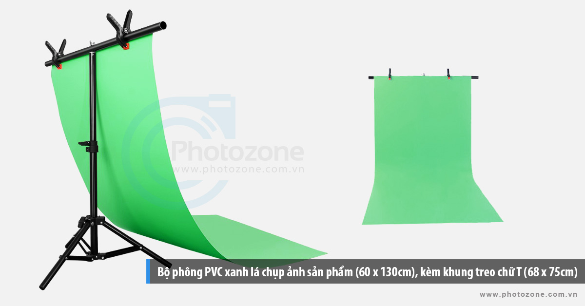 Bộ phông PVC xanh lá chụp ảnh sản phẩm (60 x 130cm), kèm khung treo chữ T (68 x 75cm)