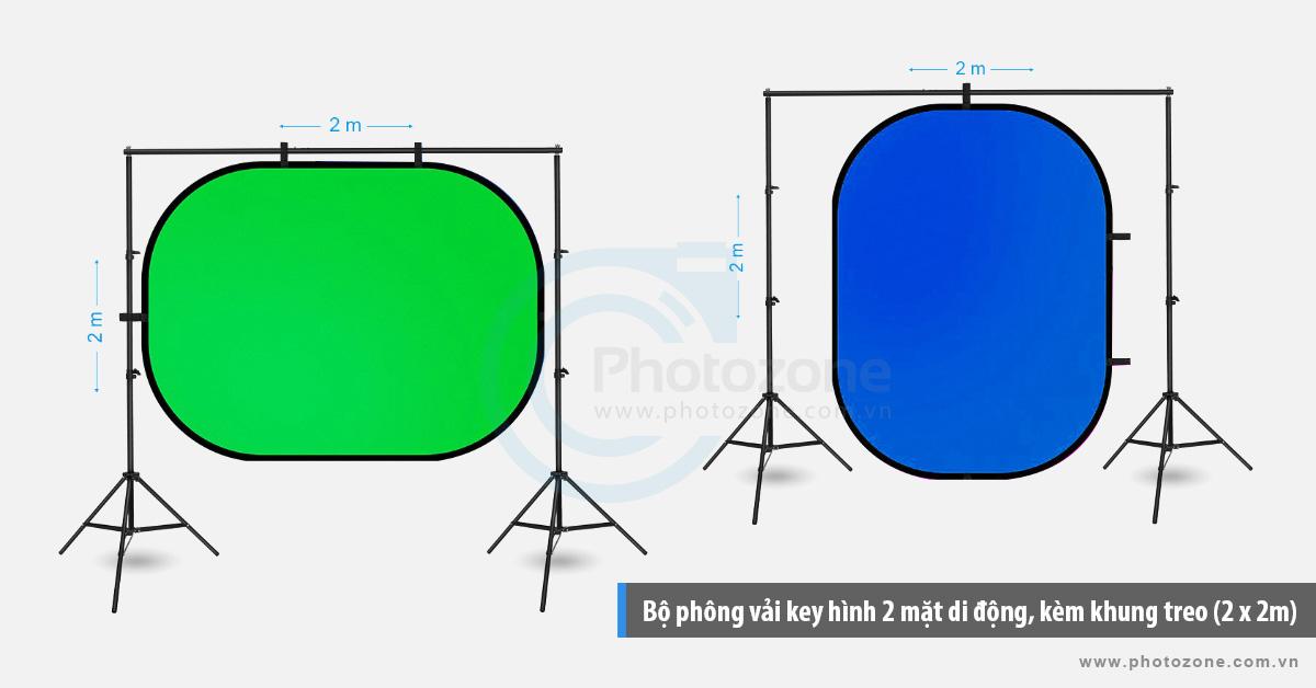 Bộ phông vải key hình 2 mặt di động, kèm khung treo (2 x 2m)