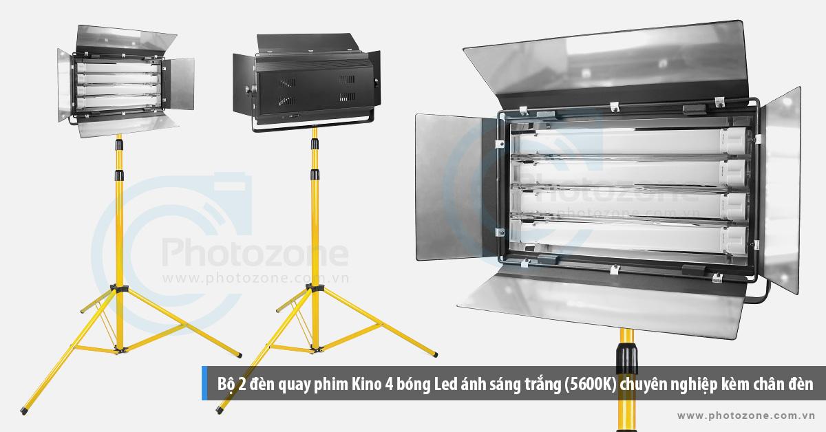 Bộ 2 đèn quay phim Kino 4 bóng Led ánh sáng trắng (5600K) chuyên nghiệp kèm chân đèn