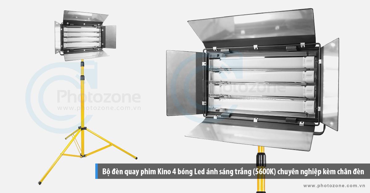 Bộ đèn quay phim Kino 4 bóng Led ánh sáng trắng (5600K) chuyên nghiệp kèm chân đèn