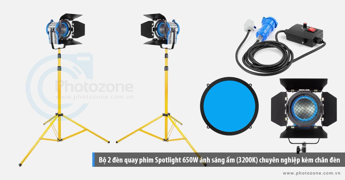 Bộ 2 đèn quay phim Spotlight 650Wx2 ánh sáng ấm (3200K) chuyên nghiệp kèm chân đèn